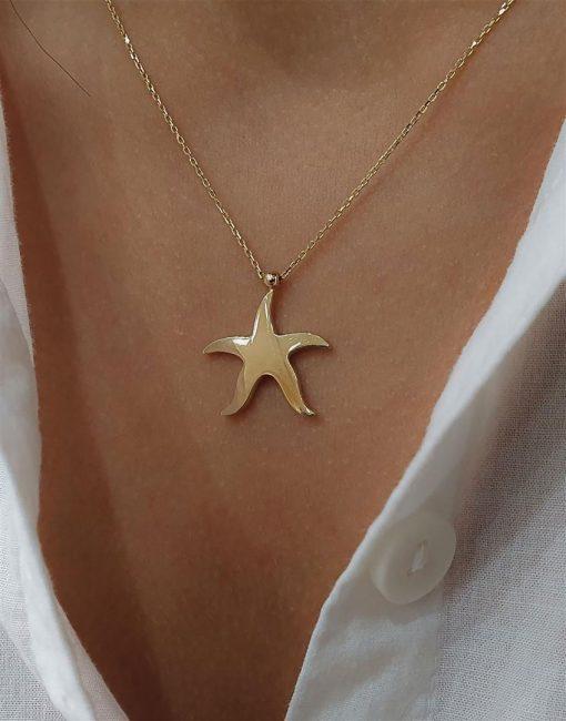 altın deniz yıldızı kolyeler