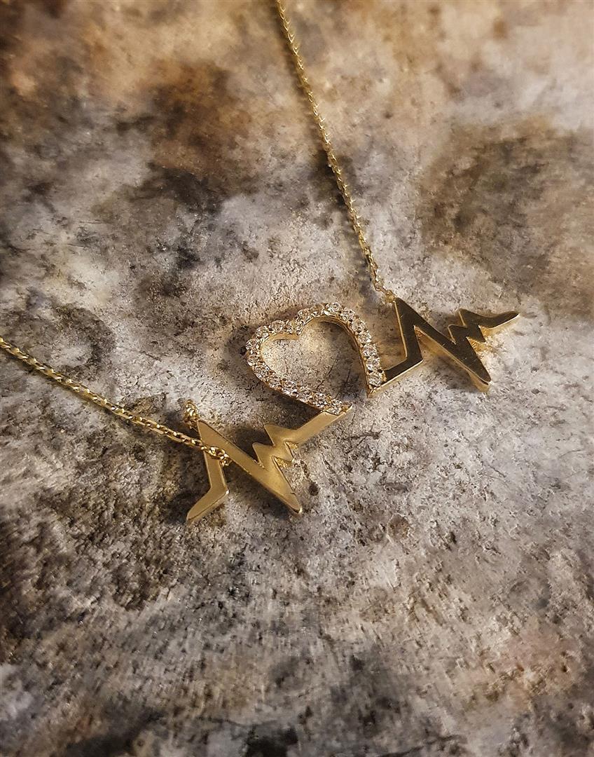 kalp altın ritim kolye