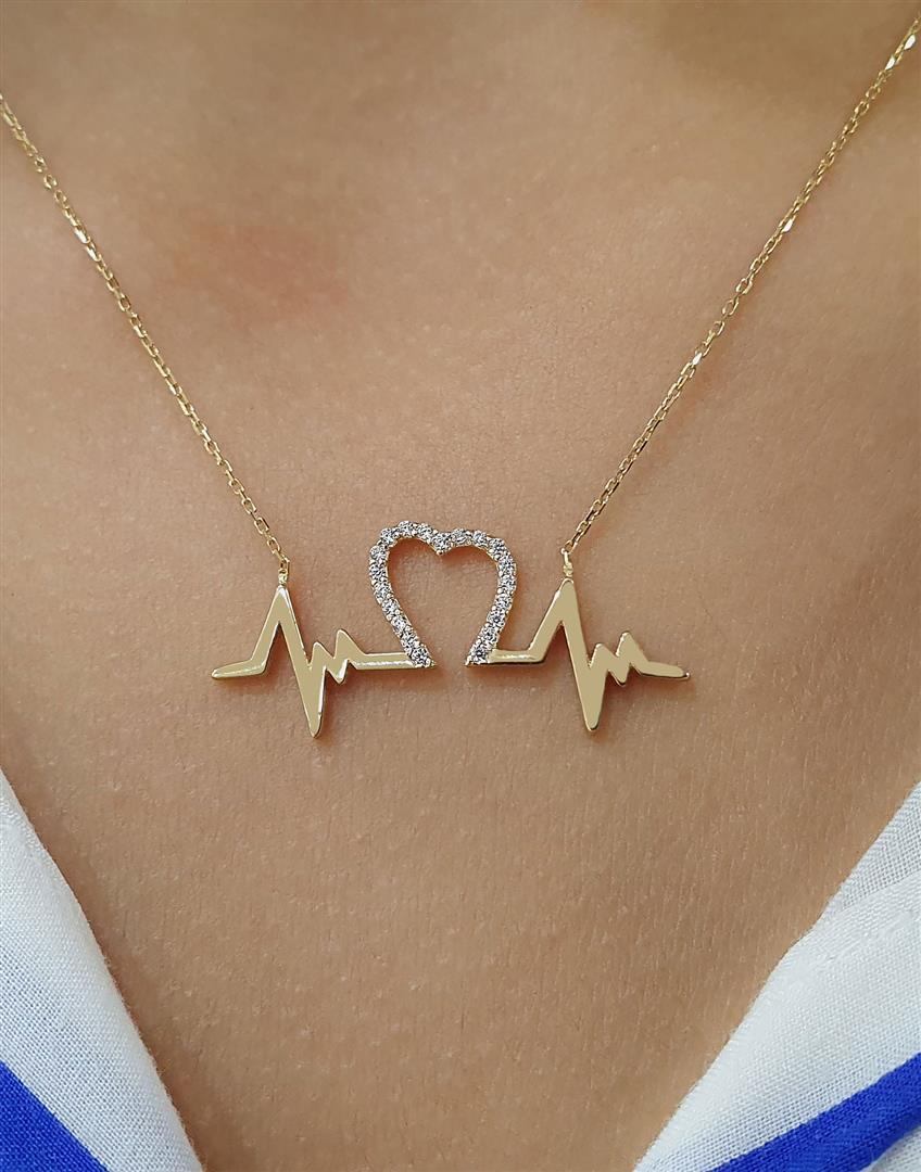kalp altın ritim kolyeler