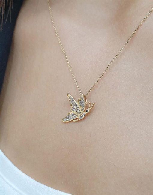 kelebek altın kolyeler