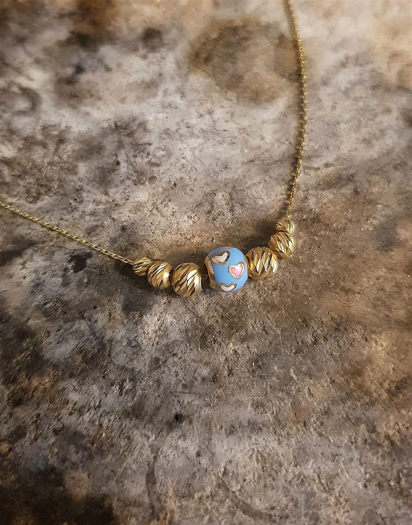 mavi dorica kolye altın