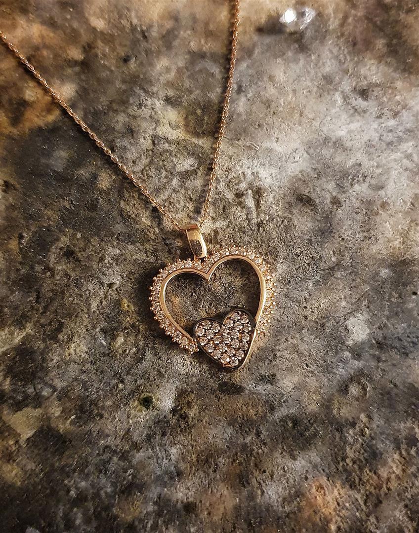 çift kalpli altın kolye